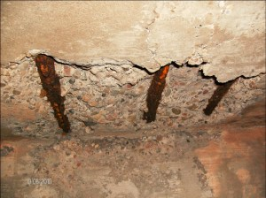 Repair of corroded reinforced concrete ceiling