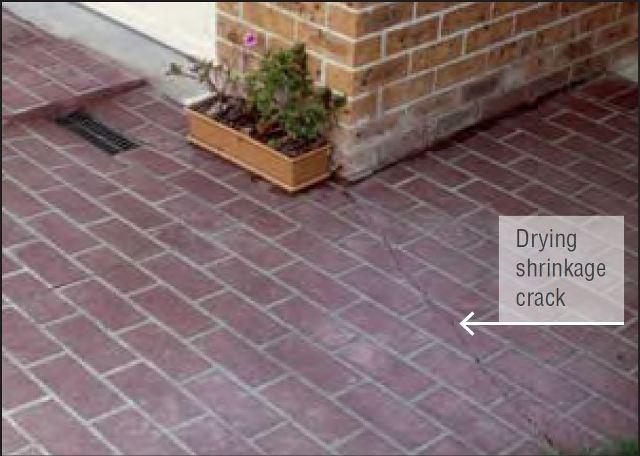 Drying shrinkage cracks in hardened concrete