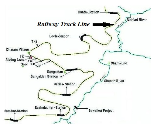 Map of railway track alignment line in a area