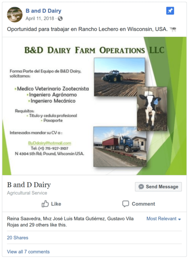 A dairy CAFO located in a tiny Wisconsin village pins an ad for workers written in Spanish to their Facebook page. There's no ad in English 🤔