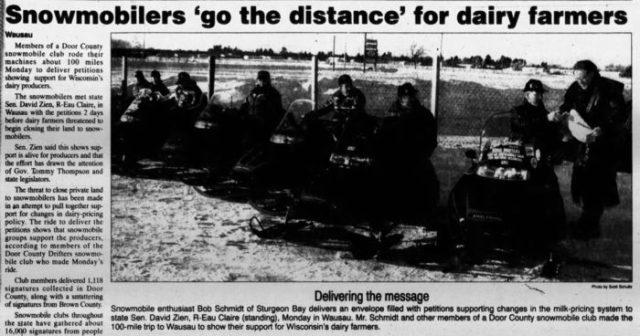 newspaper photo—snowmobile lockout