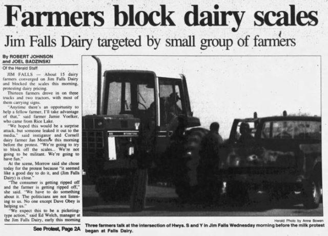 newspaper article: 'farmers block dairy scales'