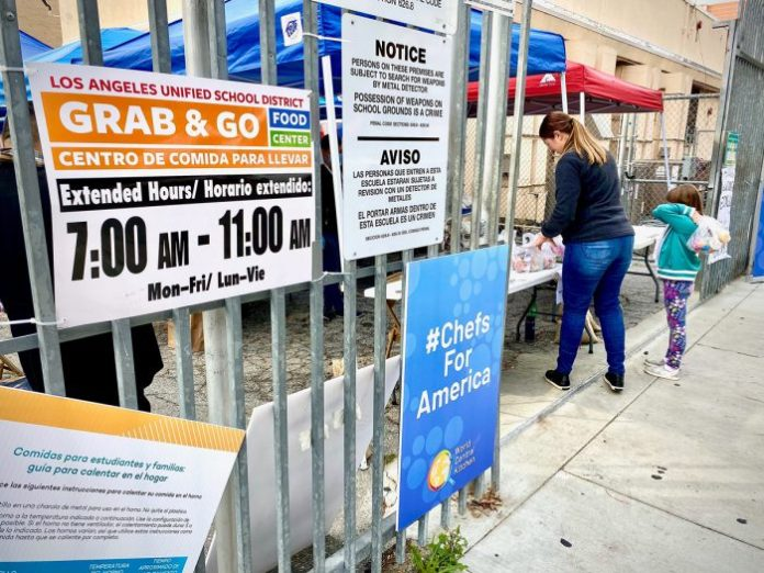 Take-and-go food pickup site at LAUSD. (Photo credit: LA Red Cross)