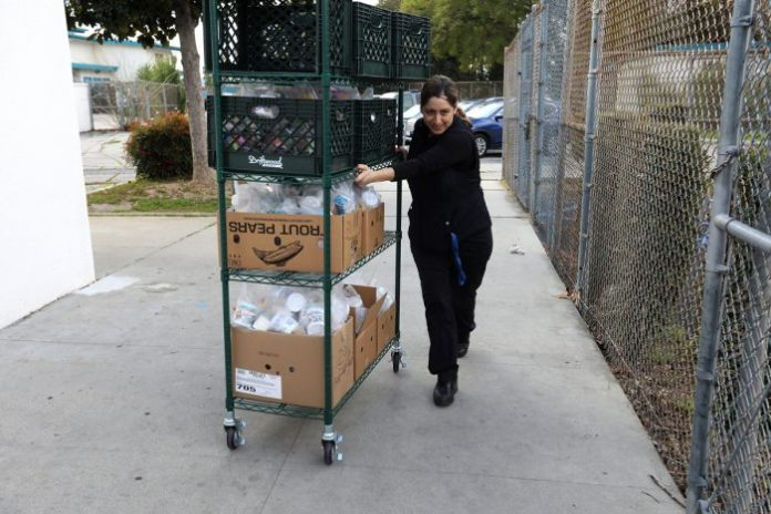 Vanessa Hatem, cafeteria manager at Canoga Park elementary school. (Photo credit: Jill Connelly / LA Red Cross)