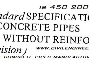 is 458 2000 2003 specification for precast concrete pipes