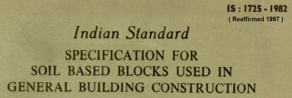 IS 1725 1982 SPECIFICATION FOE SOIL BASED BLOCK USED IN GENERAL BUILDING CONSTRUCTION