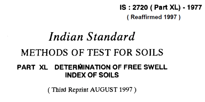 IS-2720-(PART 40)-1977 INDIAN STANDARD METHODS OF TEST FOR SOILS DETERMINATION OF TRUE SWELL INDEX OF SOILS