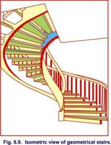 Isometric view of geometrical stairs