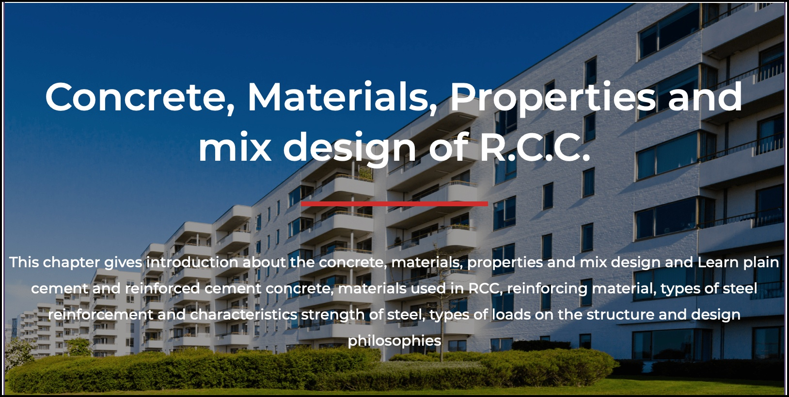 General Requirement of RCC