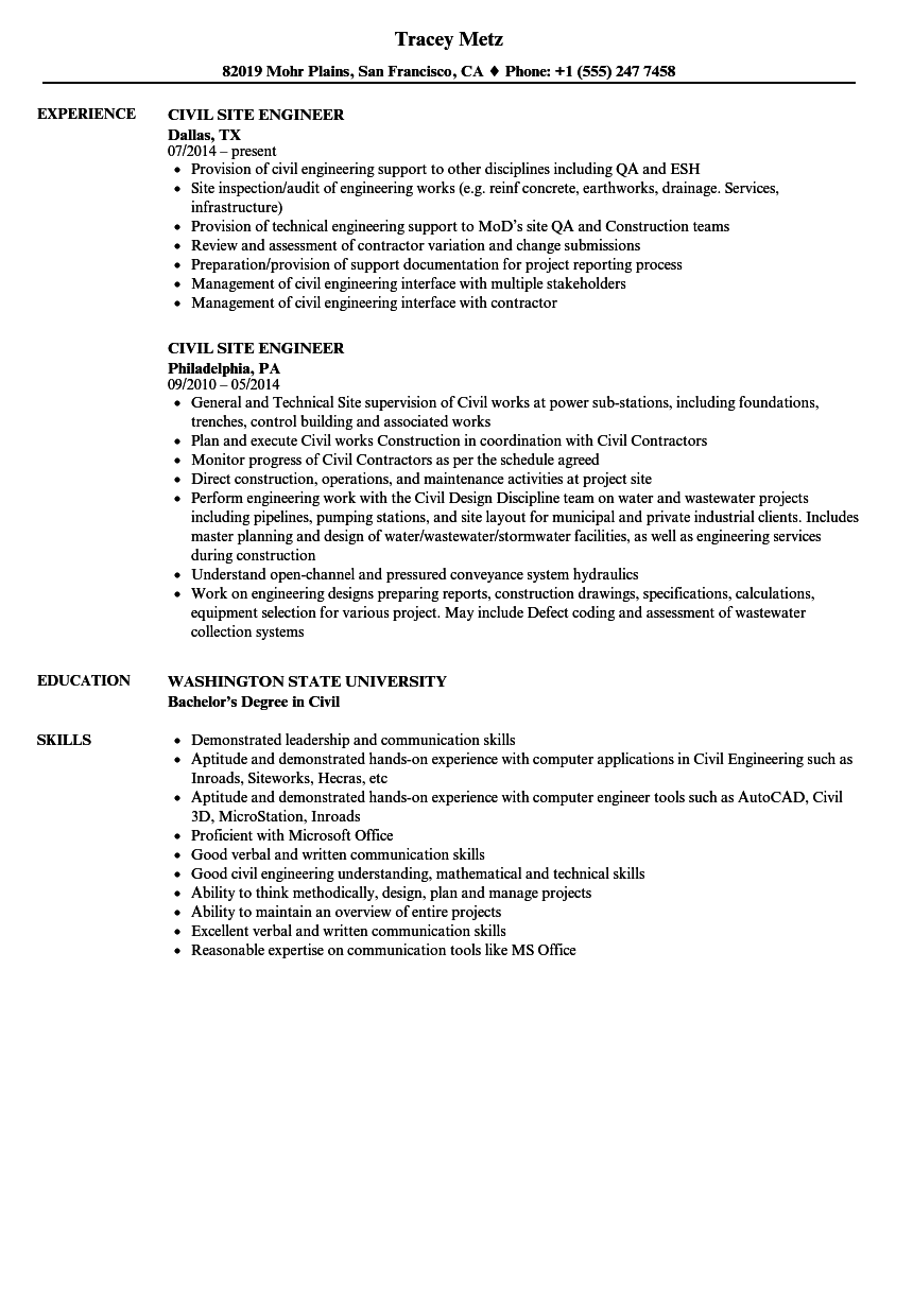 resume sample for site engineers