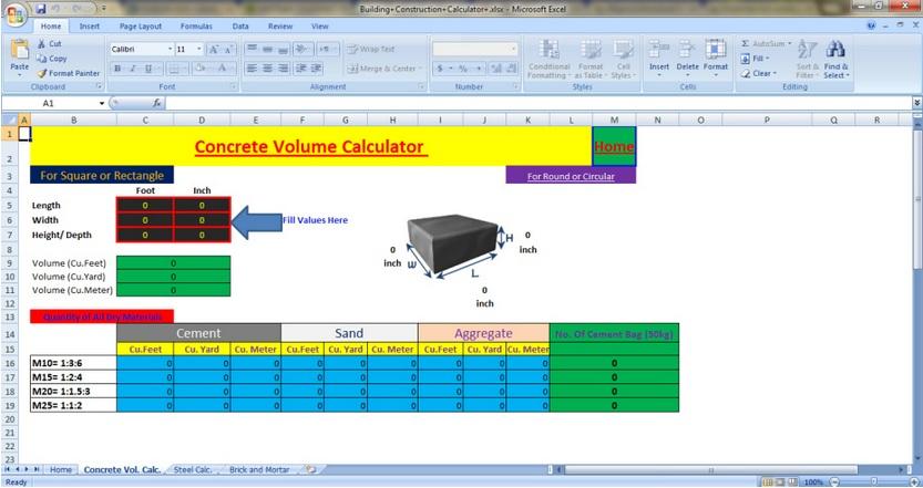 Spreadsheet 1 civil engineers pk for Civil construction estimate calculator