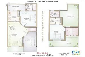3 marla house plans