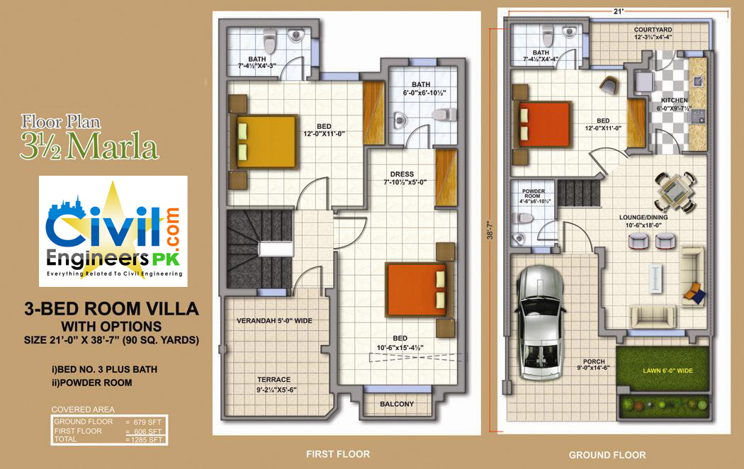 3 5 marla house plan civil engineers pk for Apartment design map
