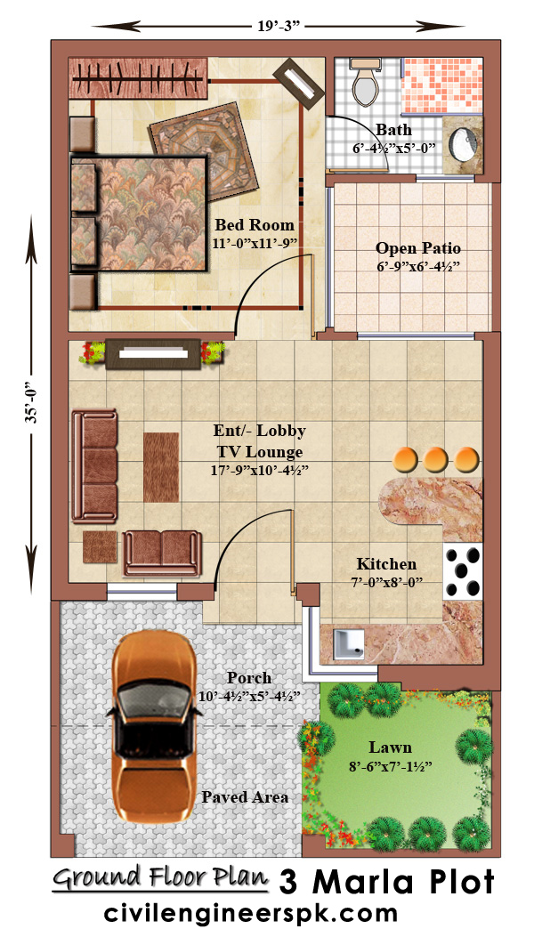 3 Marla House Plans Civil Engineers Pk: 5 marla house plan 3d