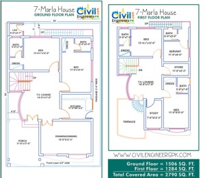 7 Marla House Plans - Civil Engineers PK