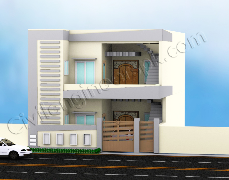 5 marla house design civil engineers pk House plan 3d view