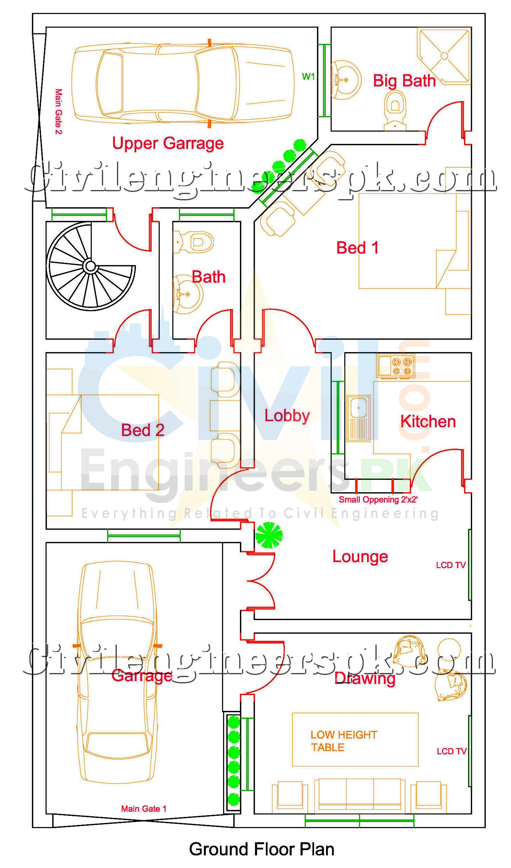 Marla House Map Designs Samples House And Home Design - 5 marla house design exterior