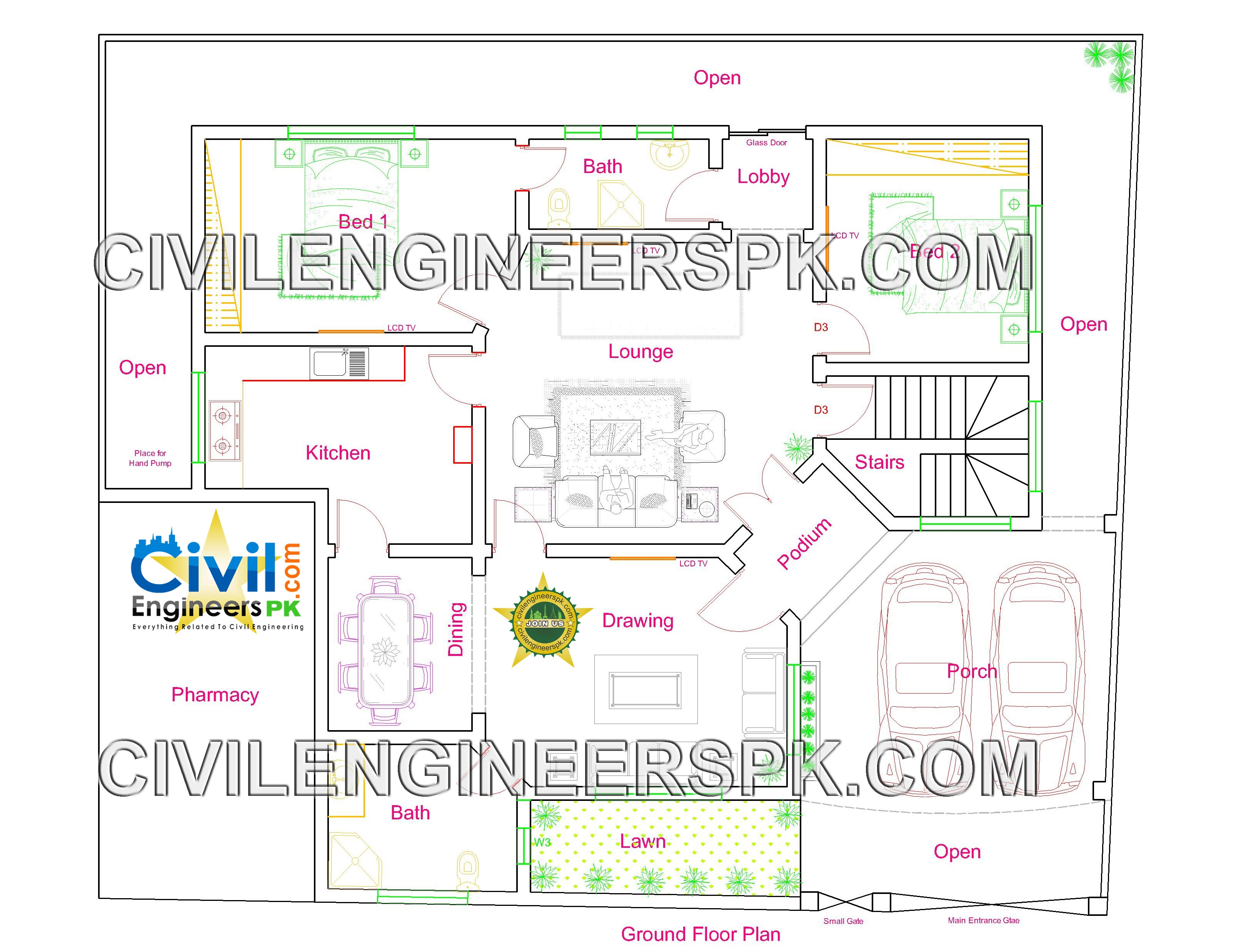 New 12 marla house design civil engineers pk for Home engineering plan