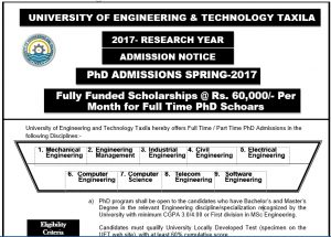 Fully Funded PhD Scholarship at 60000 per month