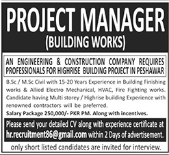 Project Manager Building Works Required