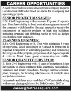 Sunday Jobs Civilengineerspk 22-10-2017