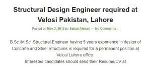 Structural Design Engineer required
