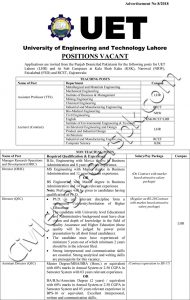 Teaching and Non teaching Positions in UET