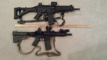 Sig 556 SBR (top); AR Pistol (bottom)