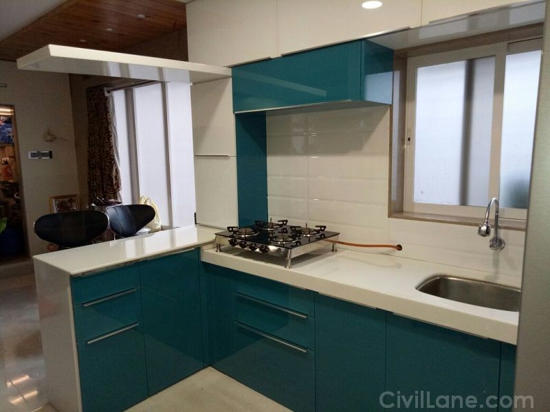 Backpainted Glass Finish Modular Kitchen