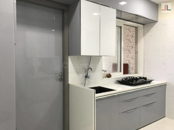 Acrylic Modular Kitchen Design Grey White Color Kandivali East Mumbai (7)