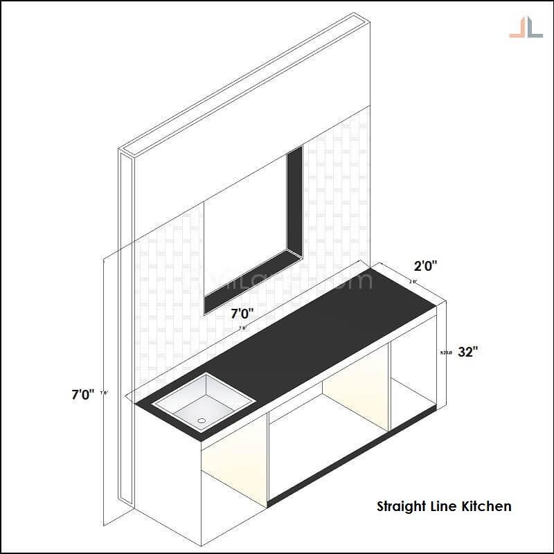 Single Kitchen Platform Straight Line Black Granite 7 Feet