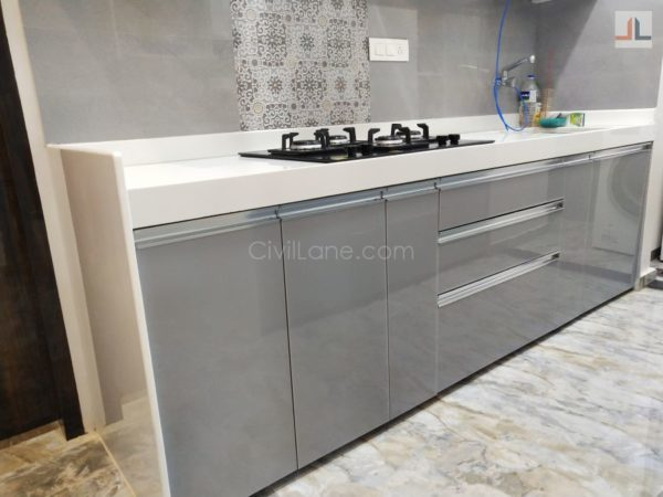 Parallel Modular Kitchen Design Acrylic Finish Parel Mumbai