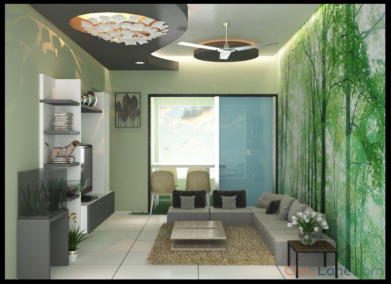 2BHK Living Room False Ceiling Design