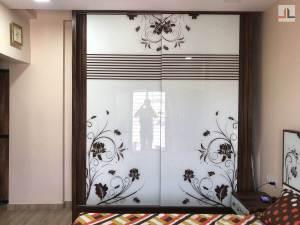 1BHK Converted Into 2BHK Mumbai Glass Sliding Wardrobe Design