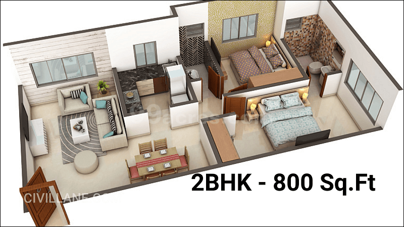 2BHK House interior Design 800 Sq ft Goregaon Mumbai