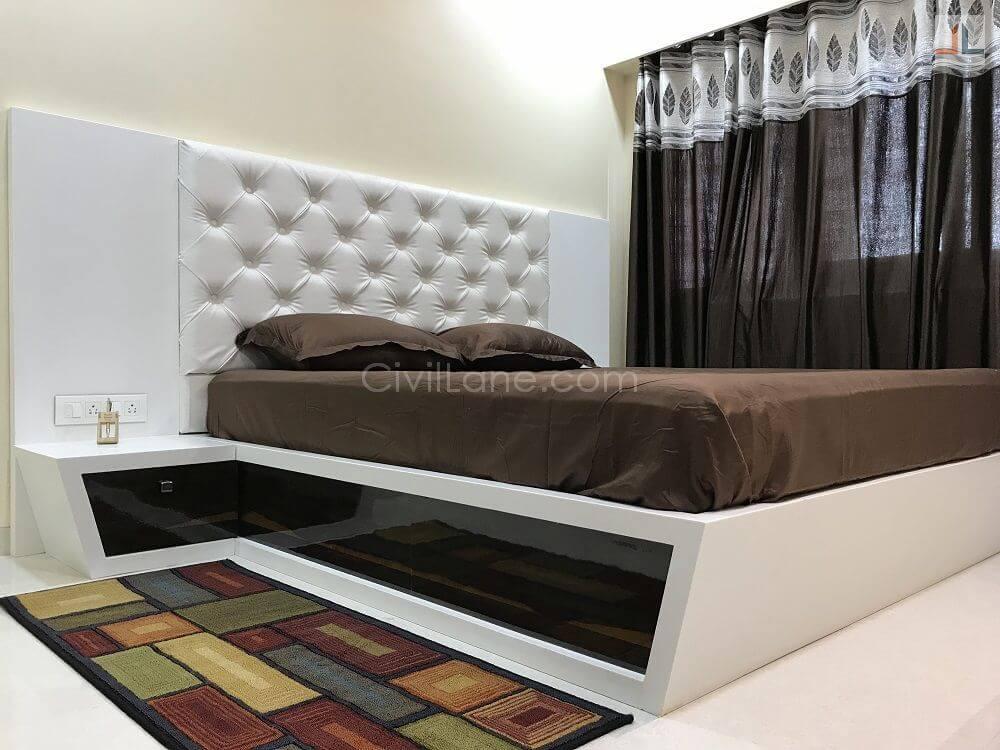 Full Height Sliding Wardrobe Design For Master Bedroom White Color