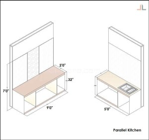 Parallel Kitchen Platform 9 Feet 5 Feet Quartz Stone