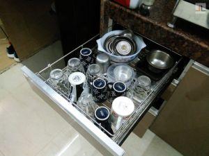 Tan Color Modular Kitchen High Gloss Laminate Finish Andheri Seven Bunglows (5)