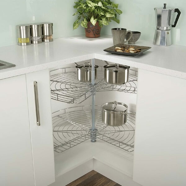 L-shaped kitchen platform carousel Set chrome finish