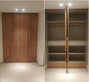 Full height openable wardrobe toasted walnut