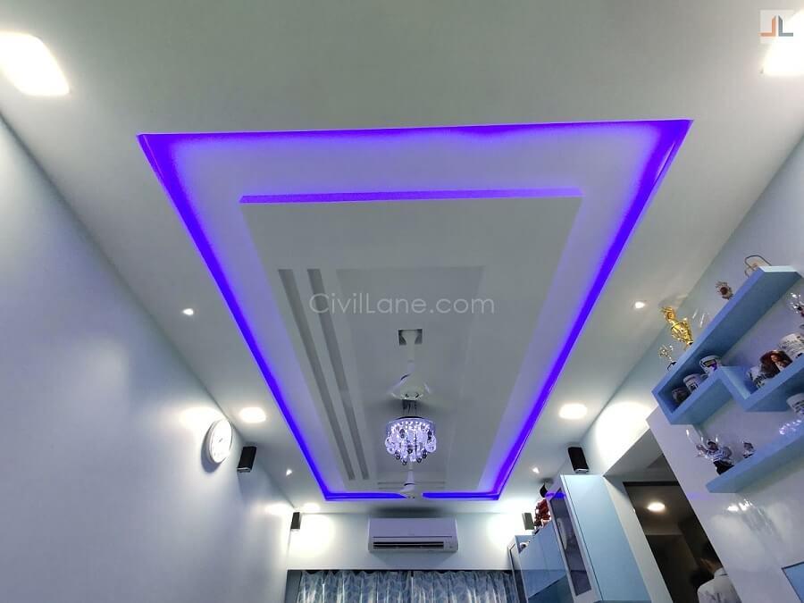 Living Room False Ceiling Design Rectangle LED Strip Light
