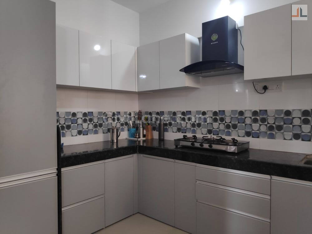 Pebble Grey L-Shaped Modular Kitchen