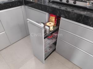 Pebble Grey Laminate Finish Modular Kitchen Design Handewadi Pune (6)