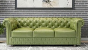 Chesterfield sofa avocado green