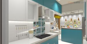 3D Kitchen Design With Breakfast Table