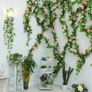 Use artificial flowers and plants for balcony decoration