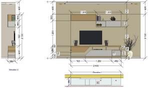 TV Unit Elevation With Measurements
