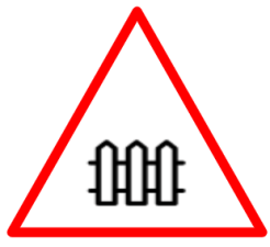 """Cautionary or Warning road  Signs or traffic signs - Barrier ahead 