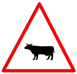 "Cautionary or Warning road  Signs or traffic signs - Cattle || symbolic image of ""Cattle"" Sign"