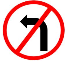 """Symbol image of """"Left Turn Prohibited"""" sign"""